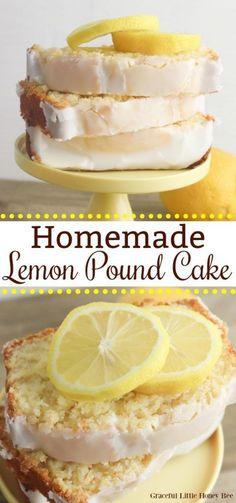 Lemon Desserts, Just Desserts, Delicious Desserts, Yummy Food, Health Desserts, Homemade Cake Recipes, Pound Cake Recipes, Baking Recipes, Homemade Lemon Cake