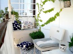 Spice up your balcony by repainting it all white and adding greenery that can stand out. You can also color code your furniture and match it with your newly painted walls.