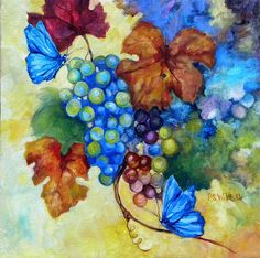 Blue butterflies & blue grapes