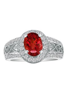 14k Gold 3 3/4 TCW Ruby and 1/4 TCW Diamond Ring