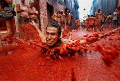 La Tomatina food fight: the annual tomato throwing festival in Bunol near Valencia, Spain Mud Fight, Best Nature Images, Harmony Of The Seas, Spanish Towns, World Festival, Earth Photos, Spain Holidays, Festivals Around The World, Valencia Spain