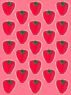 More strawberries to the people! Food Patterns, Pretty Patterns, Textile Patterns, Beautiful Patterns, Surface Pattern, Pattern Art, Surface Design, Pattern Design, Decoupage