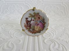 Limoges Plate, Tiny Limoges Plate, Limoges Plate with Hanger and Stand, Limoges Items, Collectible Limoges, Limoges, Limoges Victorian Plate by OpenTwentyFourSeven on Etsy