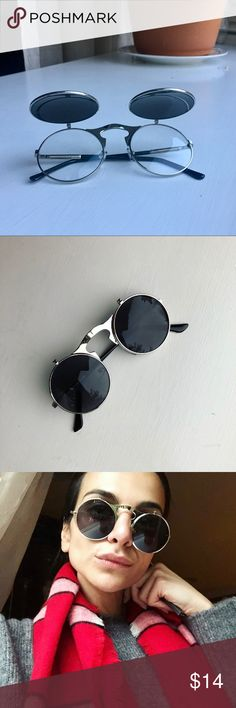 Silver Frame Flip Up Sunglasses Vintage sunglasses • unisex • silver frame  • black mirrored lenses 3103e8e9c6