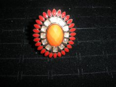 Sunburst Red & Orange Bling Fashion Statement Elastic Ring Jewelry