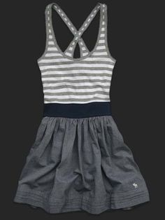 cd2ca3b13ae0 Abercrombie grey n stripe dress love Abercrombie And Fitch Outfit