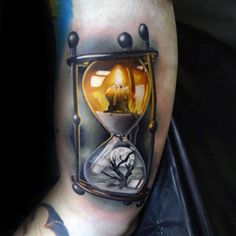 Hourglass Mens Realistic 3d Life Death Tattoo On Arm