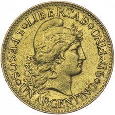 5 Pesos oder Un Argentino 1884 Argentinien
