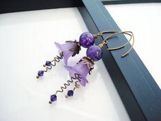 Purple Antique Brass and Lucite Flower Beaded by snowingstars, $18.00