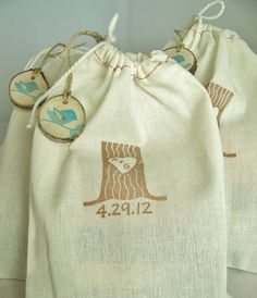 favor bags with stamp