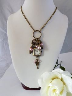 Victorian Style Charm Necklace Pearl Watch Necklace Victorian Style Watch…