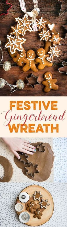 This festive gingerbread wreath is the perfect edible Christmas gift. The gingerbread dough is easy to make, requires no chilling and you can have fun and use your creativity to decorate the cookies.