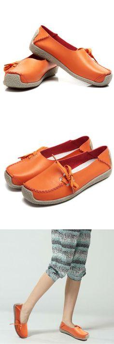 Women's #orange top grain leather #slipon shoes