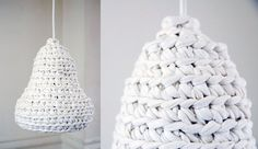 snowdrop. crochet pendant lamp. made from hand-cutted recycled material from salvaged fabric.