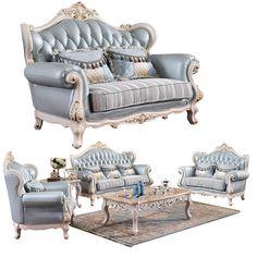 Elegant Royal Living Room Furniture Leather Sofa Set #Traditional_Living_Rooms, #Dark