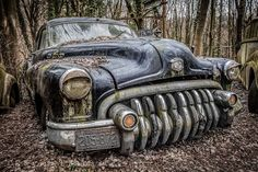 These seemingly abandoned vintage cars photographed in a forest feature historic racing cars and rusting vehicles bearing the distinctive Iron Cross. Rat Rods, Classic Chevy Trucks, Classic Cars, Vintage Cars, Antique Cars, Vintage Ideas, Buick Cars, Rust In Peace, Rusty Cars
