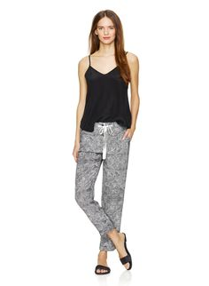 WILFRED MARAIS PANT - Casual in silhouette, made from luxurious washed silk with a custom lace print
