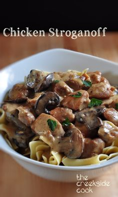 A fast and easy update to an old family favorite Chicken Stroganoff - The Creekside Cook #chicken #easydinner #fastdinner