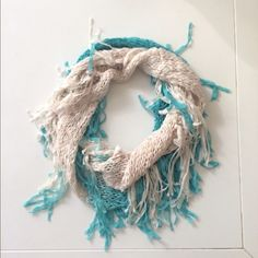 Fringe infinity scarf Teal and white infinity scarf with fringe. Soft and never worn  bundles are welcome! Accessories Scarves & Wraps