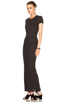 Image 2 of James Perse Short Sleeve Tee Maxi Dress in Carbon