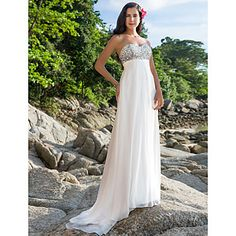 Sheath/Column Sweetheart Sweep/Brush Train Chiffon Wedding Dress – USD $ 118.79