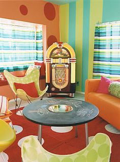 Lots of good ideas here for the game room. Esp. like the furniture arrangement in this photo.   Contemporary and Creative Playrooms - Design Dazzle