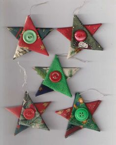 Star Christmas ornaments, fabric star, country cottage Christmas, Christmas decor, Christmas star, red green gold silver, tree decorations by Rethreading on Etsy