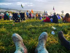 Relaxing at Glastonbury Festival