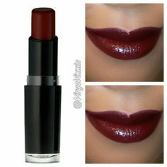Wet n wild cherry bomb lipstick. I bought this from the dollar store and wow! stays all day and very vibrant as the picture looks. make sure you use a lip liner. Beautiful for fall :) I never liked dark lips but now I love this stuff. i paid 1.00 for this stuff. doesnt dry out your lips or come off fast.
