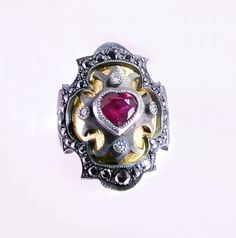 Ruby Heart Medieval Ring with Black Diamond Encrusted Frame  Etsy.