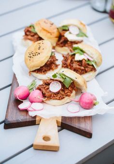 #BBQ Pork sliders with radishes, yes please!