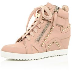 River Island Light pink studded wedge high top sneakers ($110) ❤ liked on Polyvore featuring shoes, sneakers, scarpe, pink, plimsolls / sneakers, shoes / boots, women, wedges shoes, high top wedge sneakers and canvas sneakers
