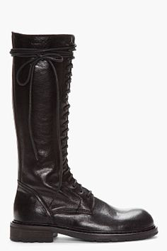 Ann Demeulemeester Tall Black Leather Lace-up Boots for men | SSENSE
