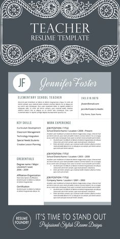 Unique teacher resume template – professionally designed for teacher application… Teacher Organization, Teacher Hacks, Teacher Stuff, Teacher Office, Teaching Jobs, Student Teaching, Teaching Resume Examples, Teacher Interviews, Job Interviews