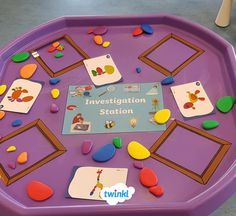 Investigate different materials, shapes, sizes and anything else with this versatile tuff tray activity! Eyfs Activities, Nursery Activities, Activities For Kids, Investigation Area, Maths Investigations, Creative Area Eyfs, Continuous Provision Eyfs, Tuff Tray Ideas Toddlers, Reception Class