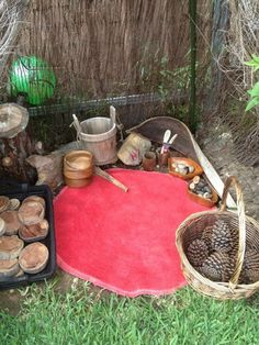 Outdoor space with natural play materials at Puzzles Family Day Care. For more i… Outdoor space with natural play materials Outdoor Learning Spaces, Kids Outdoor Play, Outdoor Play Areas, Backyard Play, Outdoor Fun, Kids Outdoor Spaces, Eyfs Outdoor Area, Heuristic Play, Natural Play Spaces