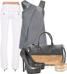 Love the top!!! Art Gray and Gold by styleofe on Polyvore style-of-e-my-outfits