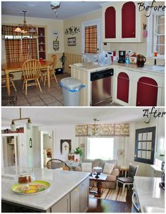 Hunt & Host Home Tour and Link Party: Kitchen Before and after kitchen remodel of this 1951 ranch. www.huntandhost.com