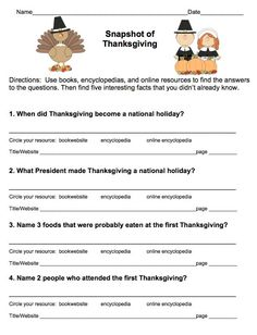 FREE! Thanksgiving Research Scavenger Hunt (Grades 3-5) from More Than a Worksheet