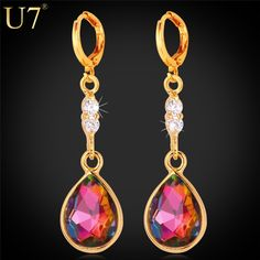 U7 Classic Earrings Fashion Jewelry For Women Trendy Gold/Platinum Plated Red Cubic Zirconia Drop Earrings E715