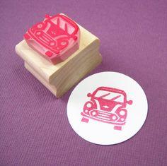 Car Rubber Stamp  Mini Car Hand carved Rubber by skullandcrossbuns, £4.25