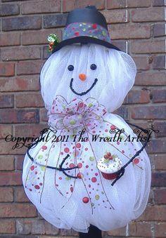 Deco Mesh Snowman Wreath   ... Wreath, deco mesh, snowman, frosty the snowman wreath on Etsy