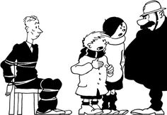 HERGÉ with the stars of his other comic book series Quick & Flupke