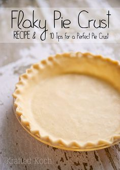 Flaky Pie Crust Recipe & 10 Tips for a Perfect Pie Crust will show you how to make a quick and easy pie crust that truns out tender and flakey! Easy Pie Crust, Homemade Pie Crusts, Pie Crust Recipes, Quiche Recipes, Tart Recipes, Quiche Crust Recipe, Rhubarb Custard Pies, Lemon Cream Pies, Perfect Pie Crust