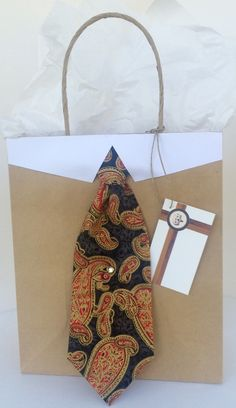 Red and Gold Paisley Necktie Gift Bag