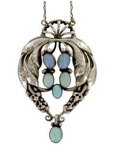 Georg Jensen Sterling Silver Opal Pendant Necklace - 1915-1930. #opalsaustralia
