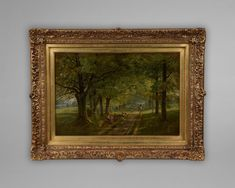 """No: 406O  """"Travellers Resting in an Avenue of Trees with a Sheep Drover Passing By"""".   Signed and dated lower right 1834    Thomas Miles Richardson Snr 1784-1848 British"""