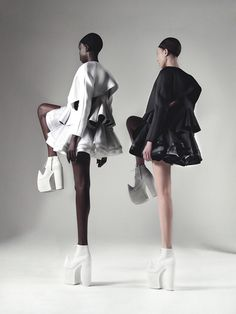 Fashion as Art - tiered ruffle dresses & graphic shoes; sculptural fashion // Robert Wun
