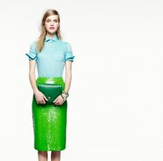 J.Crew Spring '12  No 2. pencil skirt in green $695...honey boo boo child that green makes me holla.
