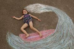 Arkansas: Sidewalk Chalk Props: Creative Photos Of Kids As Part Of Chalk Art surfer kids would make great father's day pic! Chalk Photography, Creative Photography, Chalk Pictures, Surfer Kids, Sidewalk Chalk Art, Sidewalk Ideas, Chalk Drawings, Foto Art, Photoshop